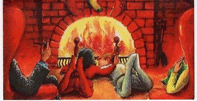 Husband Pipe Wife Knits Kids Fireplace Lady Girl VTG Christmas Eve Greeting Card