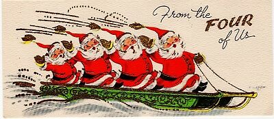 From Four of Us Santa Claus Sled Gold Glitter VTG Christmas Eve Greeting Card