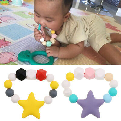 1pc Silicone Teething Pacifier Baby Soother Chain Beads BPA-Free Teether Toy