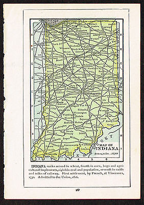1892 small old antique vintage paper us state map of indiana