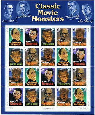 CLASSIC MOVIE MONSTERS - 1996 USA STAMP SHEET – 20 X 32c stamps – MINT MNH