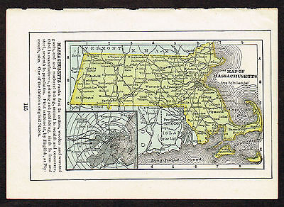 1892 small old antique vintage paper us state map of machusetts