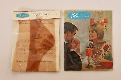 Vintage Stockings - Hudsum Helion - 2 pair Seamless - Italian -  Size 9 1/2 NEW