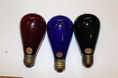 Three colored antique tipped light bulb