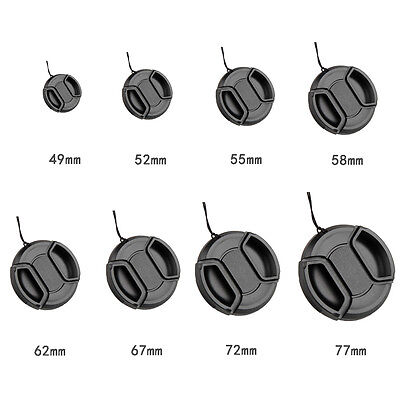 49mm-72mm Center Pinch Snap On Front Lens Cap Cover For Canon Nikon Sony+String