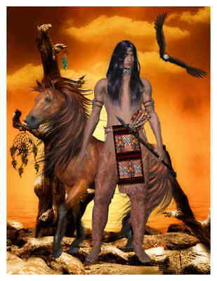 Custom Made T Shirt Native American Man Brave Warrior Horse Eagle Dream Catcher
