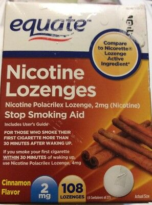 Equate Nicotine Lozenges 4 mg New Expiration 1/2019 Cinnamon Flavor 108 Lozenges