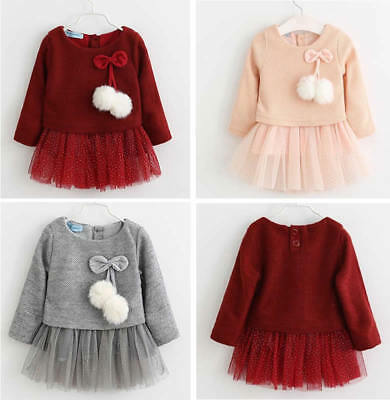 7707f7cb4c5a4 Infant Baby Girls Kids Knitted Sweater Dress Winter Pompom Sequined Tutu  Clothes