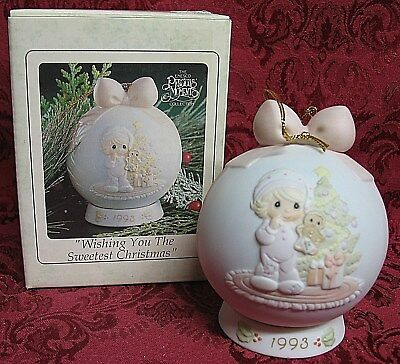 Precious Moments Dated 1993 Ball Ornament ~Wishing You The Sweetest Christmas