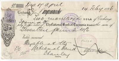 TASMANIA  1896: Promissory Note with 6d QV Tablet affixed paying stamp duty