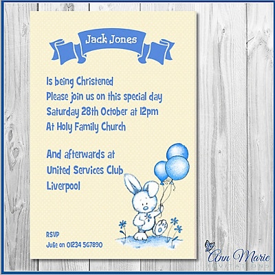 10 Personalised Christening Invitations Card Boy Christening Invite Cards
