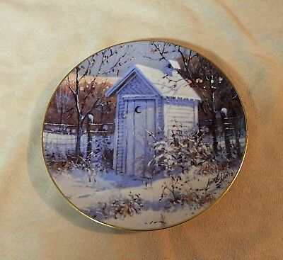 """Rare-GOOD OL' DAYS-Outhouse Collector Plate-Lowell Davis """"Schmid""""-1984"""