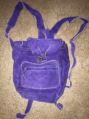 Vtg 80s Suede Leather Mini Backpack Quality 70s Hippie Festival Style Purple Bag