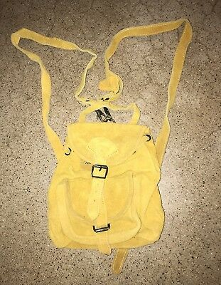 Vtg 80s Suede Leather Mini Backpack Quality 70s Hippie Festival Style Gold Bag