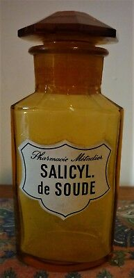 ANTIQUE FRENCH AMBER GLASS APOTHECARY BOTTLE with ORIGINAL STOPPER &  LABEL