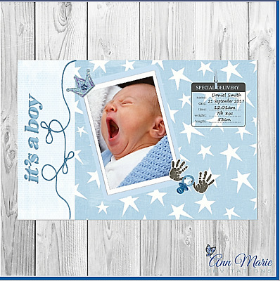 10 Personalised Birth Announcement Arrival Card New  Boy Baby Thank You Card