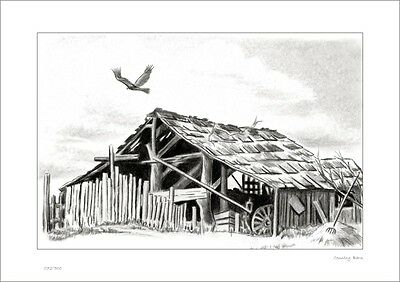 Country Barn     Australian    Pencil  Drawing   Limited Edition Print