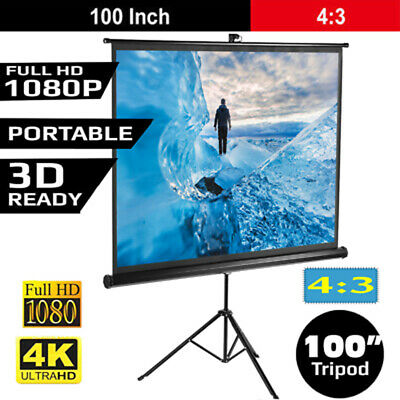 "100"" Portable Pull Up Projector Screen For HD Movies Projection Stand Tripod AU"