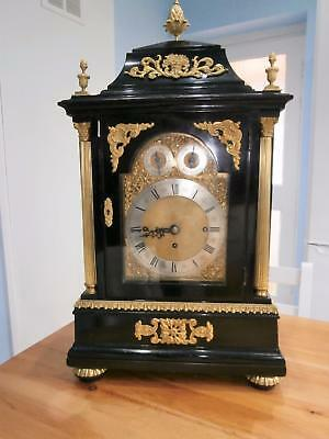 8 Bell Triple Fusee Ormolou & Ebony Bracket Clock Serviced & Overhauled