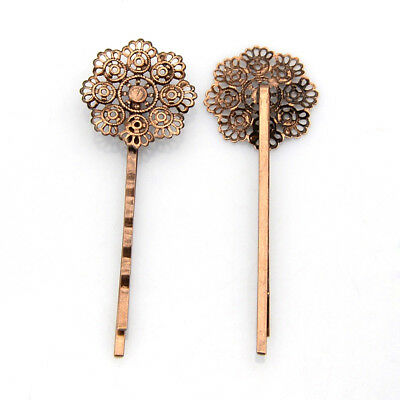 10pcs Retro Iron Filigree Flower Hair Bobby Pins Nickel Free Red Copper 66x22mm