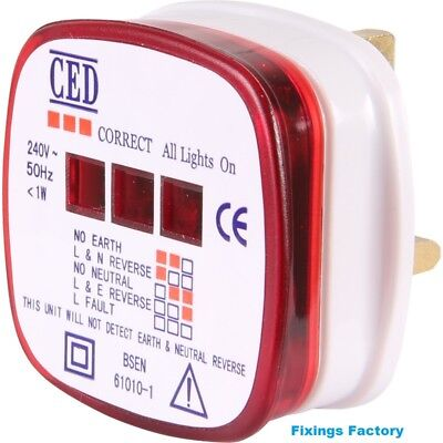 Mains Plug in ring main Socket Tester- UK 240V -  incorrect wiring/faulty detect