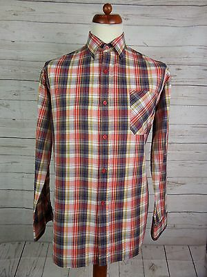 Mens Vtg L Sleeve Blue / Red / Yellow Checked Shirt Indie Scooter -L- DP65