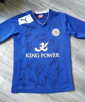 Signed Leicester City Retro Shirt. Adults Shirt Signed by the NEW 2017/18 Squad