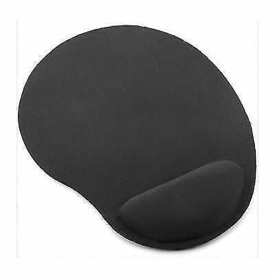 Black Anti-Slip Mouse Mat Pad With Foam Wrist Support Pc & Laptop ~Uk Seller~