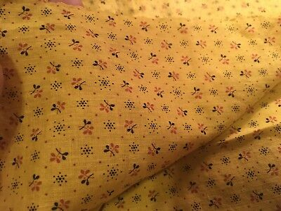 Gorgeous Deep Rich Antique Mustard Yellow Calico Fabric Quilting Cotton 2 Pieces