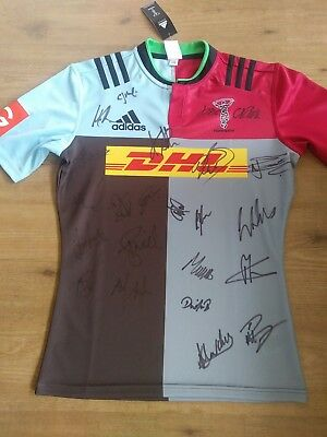 Signed Harlequins Shirt. Brand New. Rugby Union. Signed by NEW 2017/18 Squad.