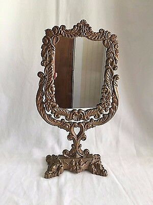"""Victorian Mirror Vanity Table JM8 Swivel Footed Gold Gilt Cast Iron 16"""" tall"""