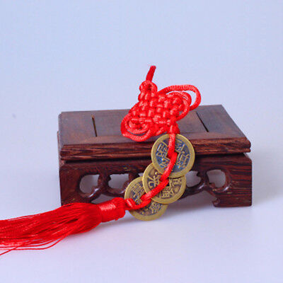 NEW Wealth Success 3 Copper Coin China Knot Red Rope Feng Shui Lucky Car Decor