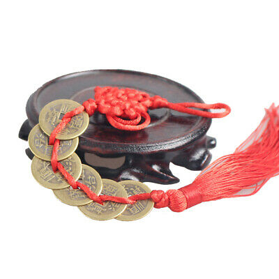 NEW Wealth Success 6 Copper Coin China Knot Red Rope Feng Shui Lucky Car Decor