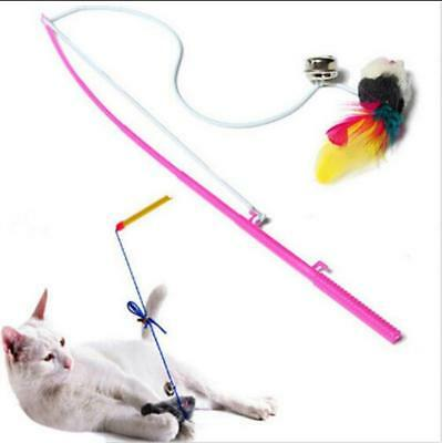 Pet Kitten Play Length Interactive Toy Cat Teaser Wand Mouse Feather Toy ZY