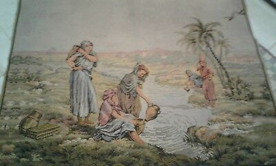 Antique French Tapestry Pastoral Scene, 48X36 Very Good...