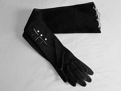 Vintage Black Suede Opera Gloves Pearl Buttons