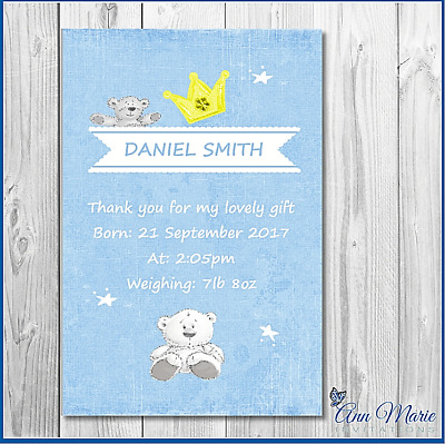 10 Personalised Thank You Birth Announcement Arrival Cards New  Boy Baby  Card