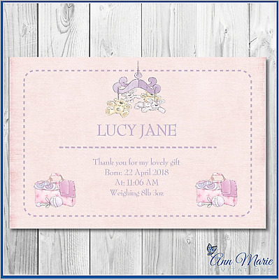 10 Personalised Baby Birth Announcement Cards New Baby Girl Thank You Cards