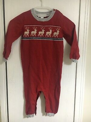 Little White company 6-9 Months Christmas Baby Babygrow Knitted Reindeer