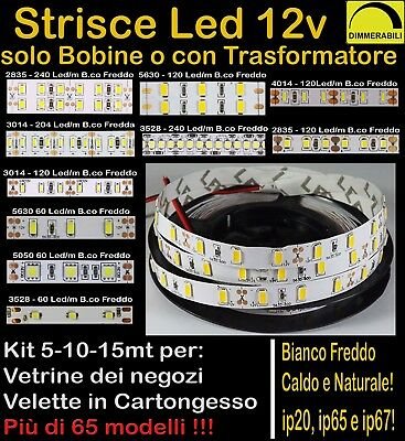 STRISCIA LED STRIP 12v 5-10-15mt anche WATERPROOF BOBINA LUCE DIMMERABILE 12Volt