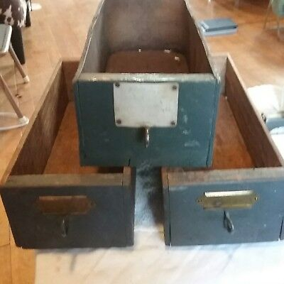 3 Antique Wood Drawer Boxes Vintage  Library,  office  ,Drawers  cute