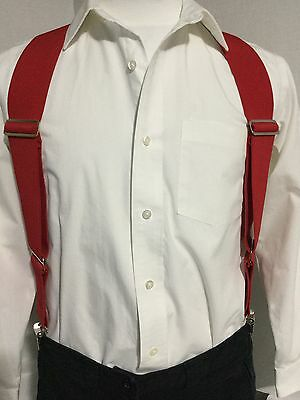 "New, Men's, Red, XL, 2"", Adj. Side Clip Suspenders / Braces, Made in the U.S.A."