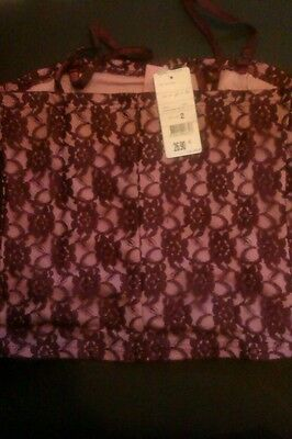 joblot x10   SIZE 2 CORSET STYLE TOP LACE OVER PINK SATEEN, NEW WITH TAGS