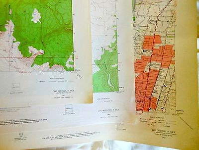 """Lot 11 vintage New Mexico northern central NM  Topo Maps 1950s 60s USGS 23x27"""""""