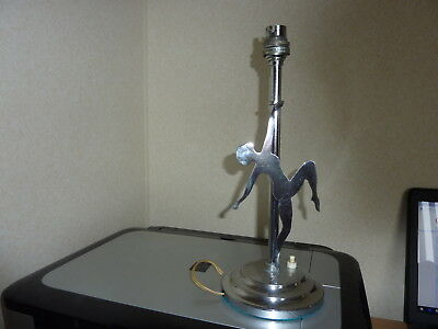Art Deco Chrome Plated Table Lamp With Dancing Lady