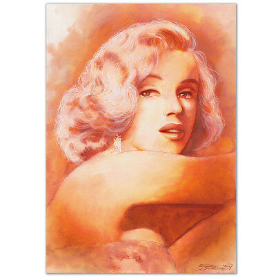 """ORIGINAL AQUARELL """"This one goes out to all the lovers""""WATERCOLOR MARILYN MONROE"""