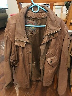 Wilson's Brown Adventure Bound Leather Bomber Jacket Vintage Men's: 48 BIG