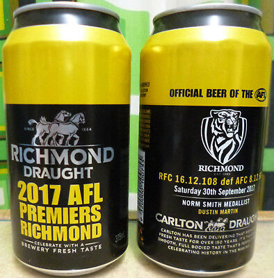 Richmond Draught 2017 Afl Premiers - Two Empty Beer Cans