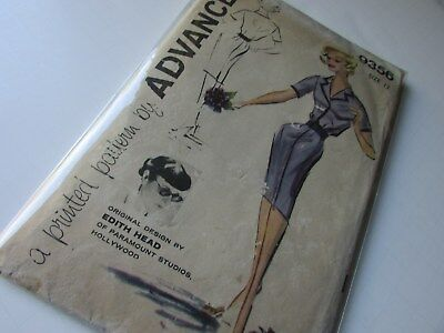 Vtg sewing pattern. Edith Head designer.Dress c1950s orignial sz 12/32