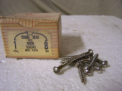 """#8 x 1"""" Nickel Plated Wood Screws Round Head Slotted Made in USA  Qty. 100"""